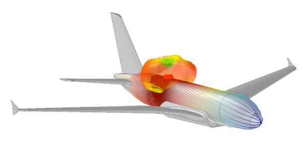 Rozkład prądów na kadłubie samolotu przy uwzględnieniu metody Creeping wave dla anteny monopolowej 1.2 GHz